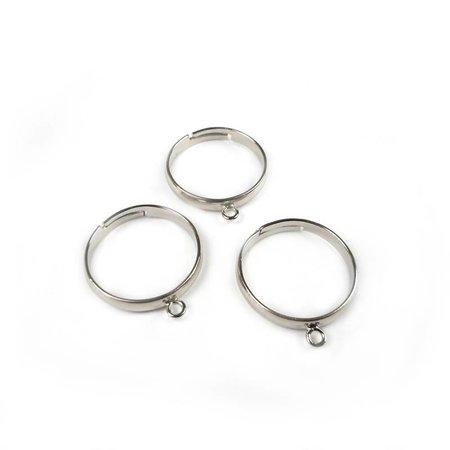 3 stuks Verstelbare Ring Zilver Nikkelvrij 18mm