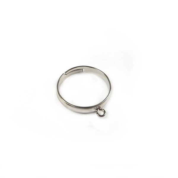Adjustable Ring  With Eye Silver Nickel Free 17mm, 3 pieces