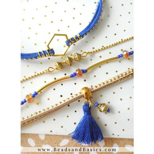 Bracelets From Suede Cord And Beads - Cobalt Blue With Camel