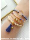 Armbanden Van Suede En Kralen - Kobalt Blauw Met Camel