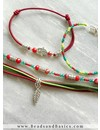 Making Bracelets With Elastic And Suede - Army Green With Dark Red