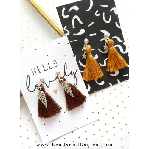 Tassel Earrings Making - Brown With Silver