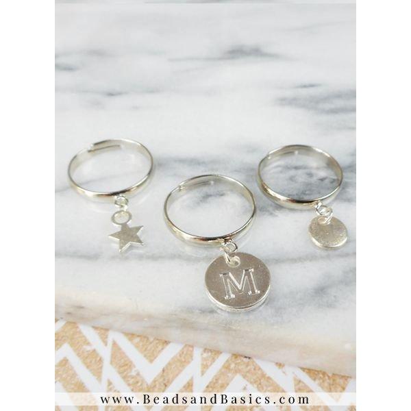 Verstelbare Ring Zilver Met Oog Nikkelvrij 17mm, 3 stuks