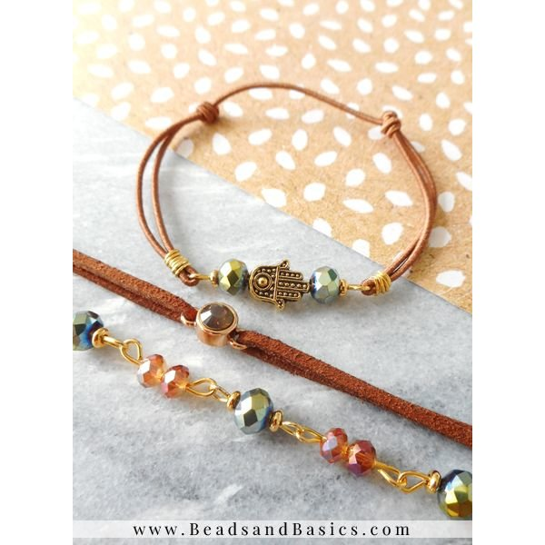 Bracelet With Faceted Glassbeads - Brown Gold