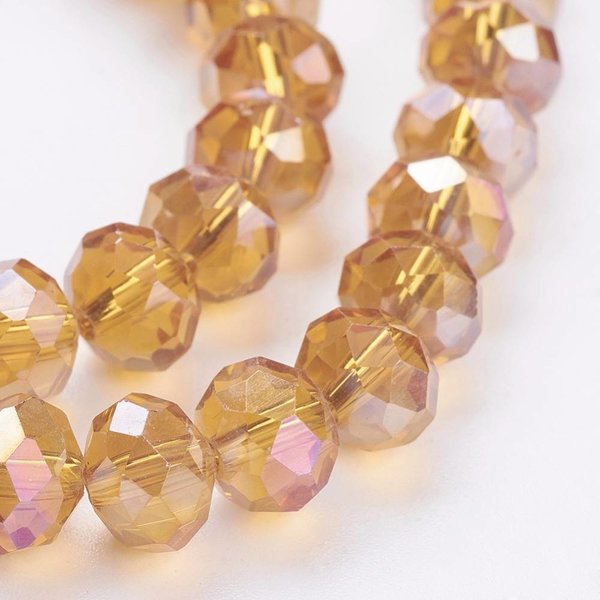 Faceted Glassbeads Topaz Shine 8x6mm, 30 pieces
