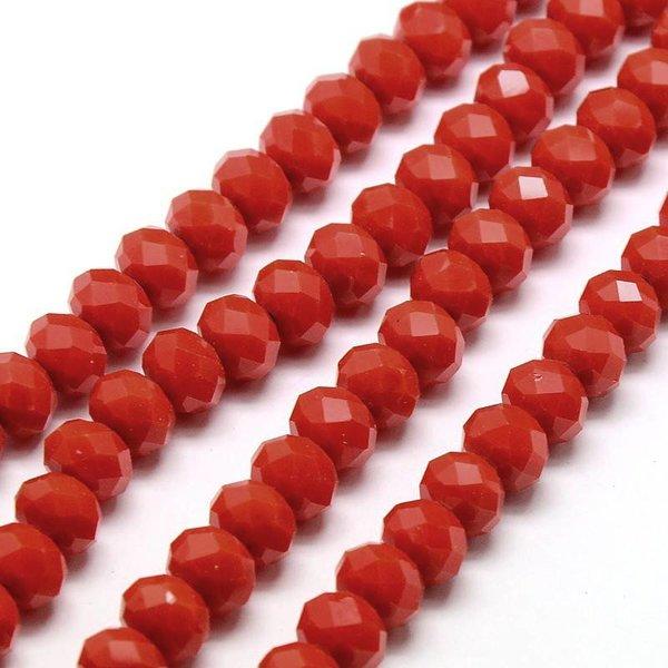 Facet Glaskralen Rood 8x6mm, 30 stuks