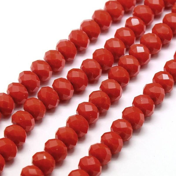 Faceted Glassbeads Red 8x6mm, 30 pieces