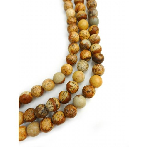 62 pieces Picture Jasper Beads Brown 6mm