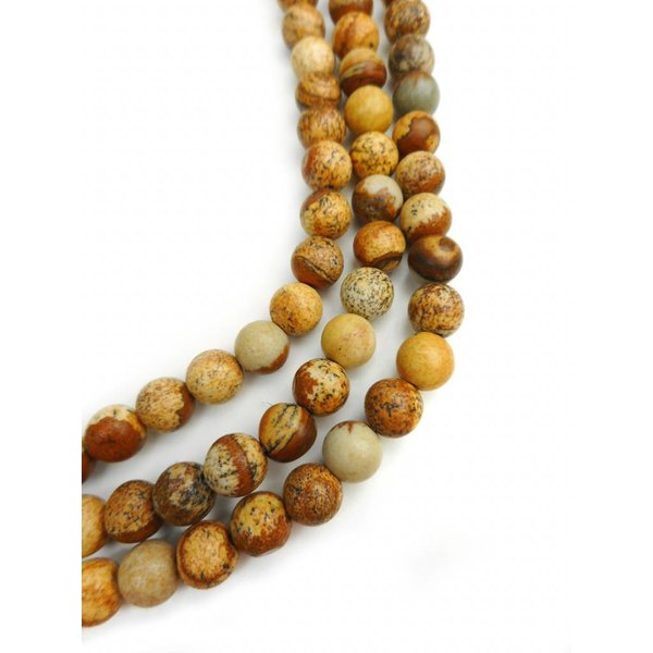 Natural Picture Jasper Beads Brown 6mm, strand of 62 pieces