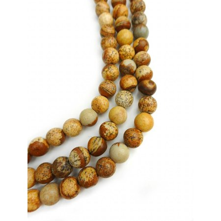 86 pieces Picture Jasper Beads Brown 4mm