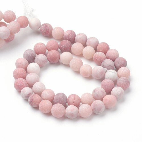 Frosted Pink Jade Beads 6mm, strand 63 pieces