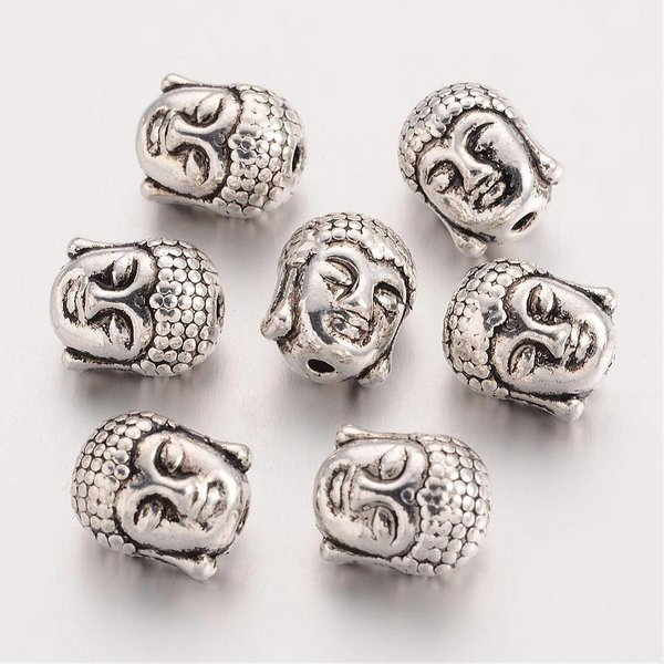 Metal Buddha Silver Bead 11x9mm, 4 pieces