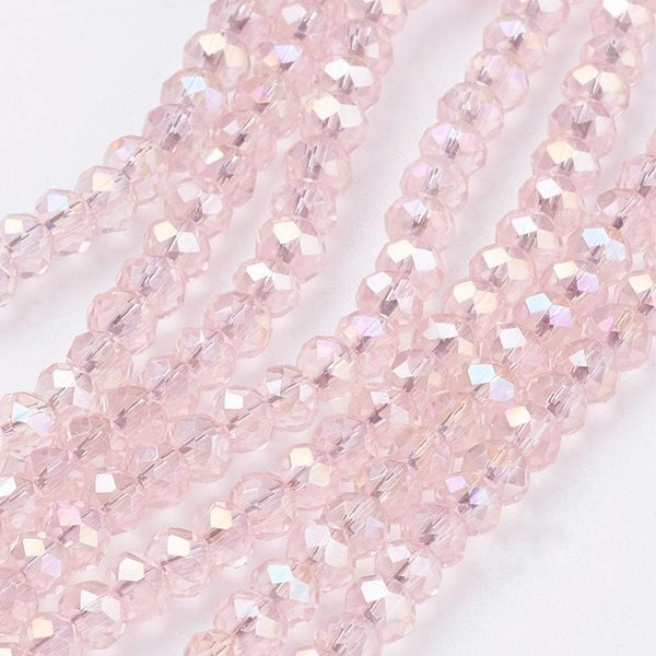 Faceted Glassbeads Light Pink Shine 3x2mm, 80 pieces