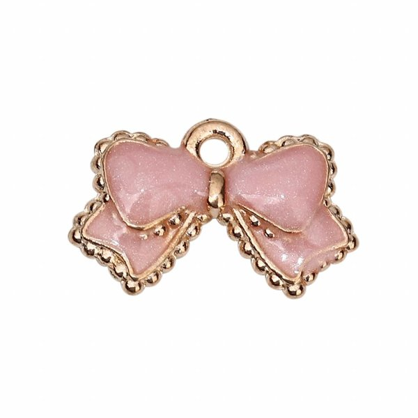 Enamel Bow Charm Gold Pink 16x10mm, 5 pieces
