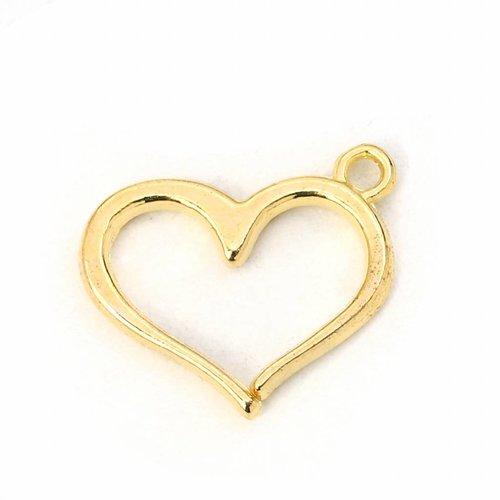 5 pieces Heart Charm Gold Plated 16x13mm