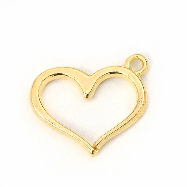 Heart Charm Gold Plated 16x13mm, 5 pieces
