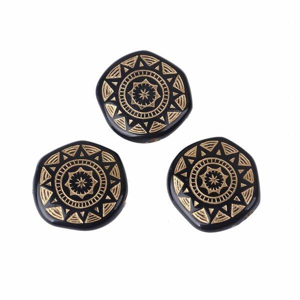 Zwarte Acryl Kralen met Goud 18mm, 10 stuks
