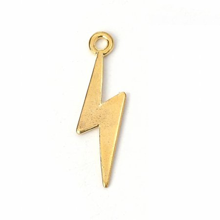 5 pieces Lightning Charm Gold Plated 29x9mm