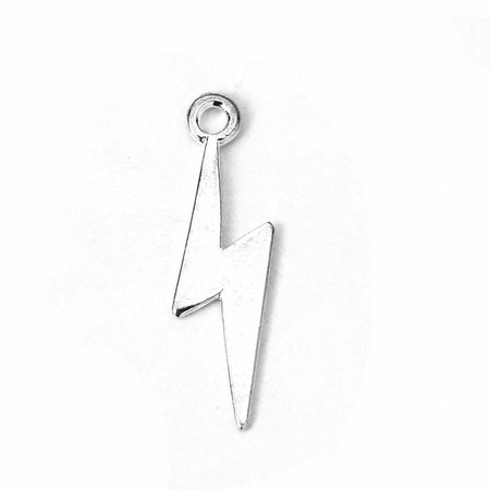 5 pieces Lightning Charm Silver 29x9mm