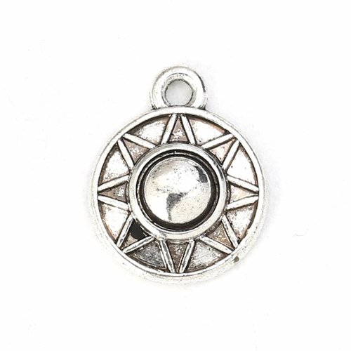 5 pieces Silver Charm with Star 15x12mm