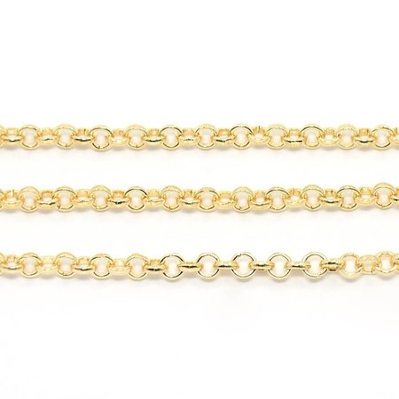 1 meter Rolo Chain Silver Light Gold 4mm