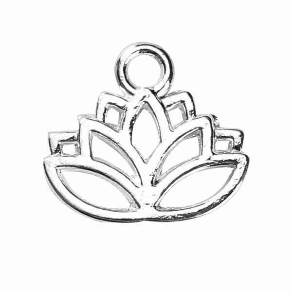 Lotus Flower Charm Silver 17x15mm, 6 pieces