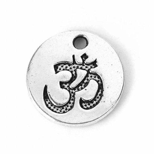 5 pieces Yoga Ohm Charm Silver 15mm
