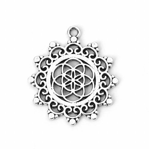 5 pieces Flower of Life Charm Silver 34x30mm