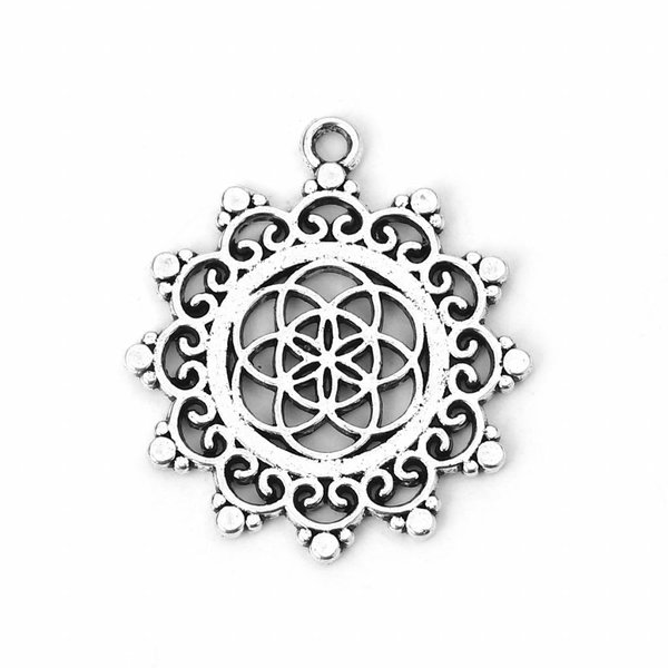 Flower of Life Charm Silver 34x30mm, 3 pieces