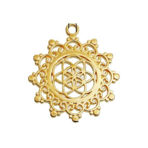 3 pieces Flower of Life Charm Gold 34x30mm