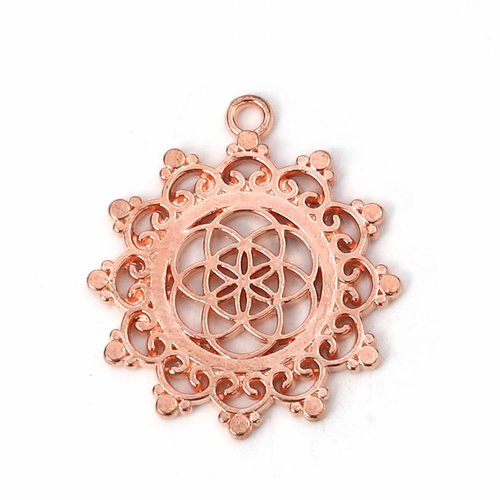 3 pieces Flower of Life Charm Rose Gold 34x30mm