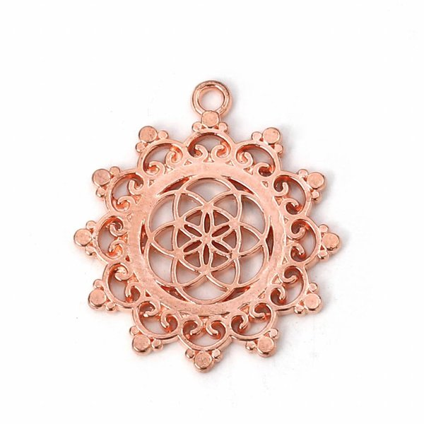 Flower of Life Bedel Rose Goud 34x30mm, 3 stuks
