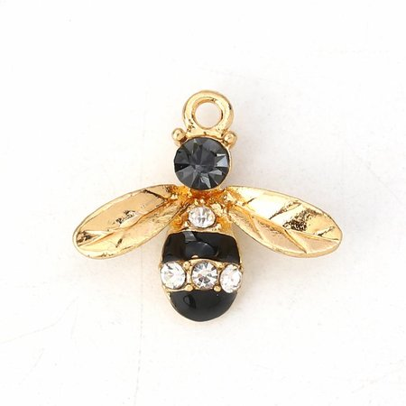3 pieces Bee Charm with Rhinestones 17x15mm