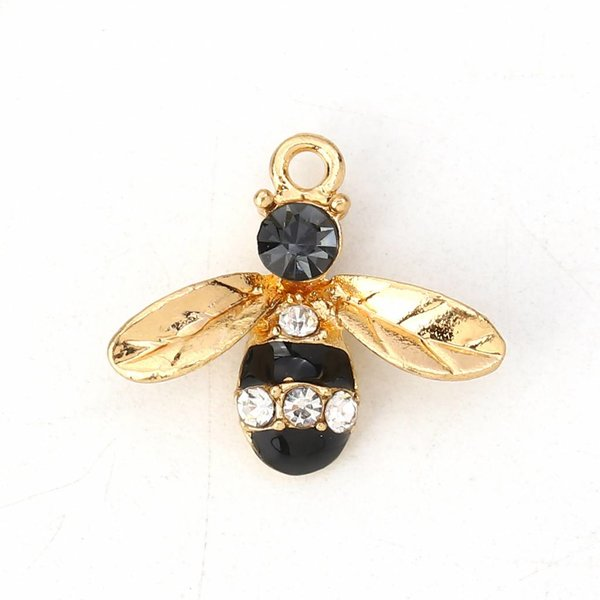 Bee Charm Gold Plated Black with Rhinestones 17x15mm, 3 pieces