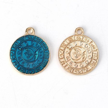 3 pieces Gold Plated Coin Charm Constellation 23x19mm