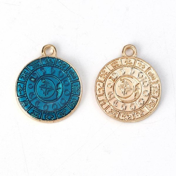 Gold Plated Coin Charm Constellation 23x19mm, 3 pieces