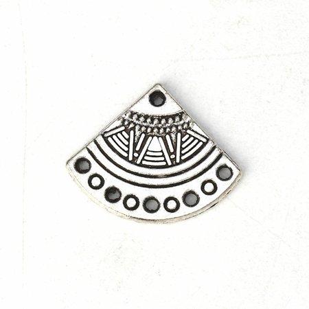6 pieces Boho Fan Shaped Charm Silver 18x14mm