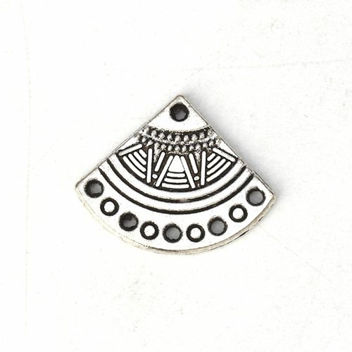 6 pieces Boho Fan Shaped Charm Silver 18x14mm