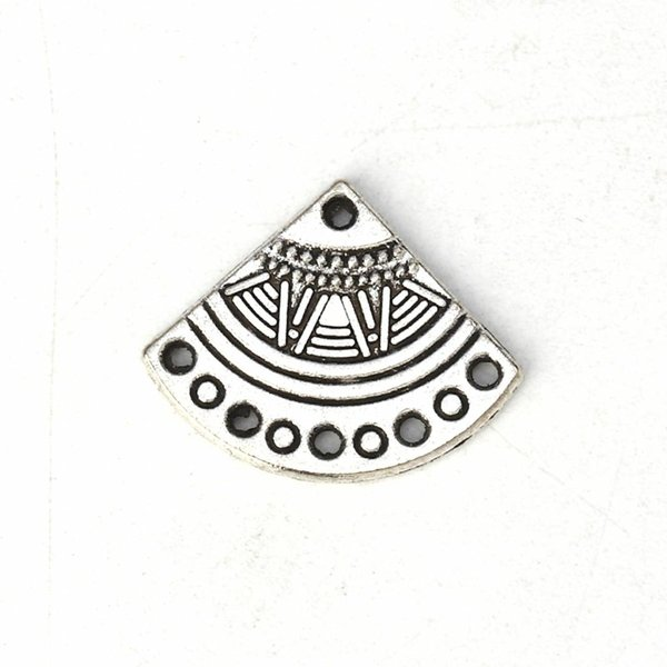 Boho Fan Shaped Charm Silver 18x14mm, 6 pieces