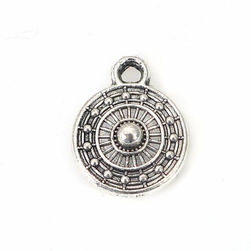 8 pieces Boho Coin Charm Silver 11x9mm