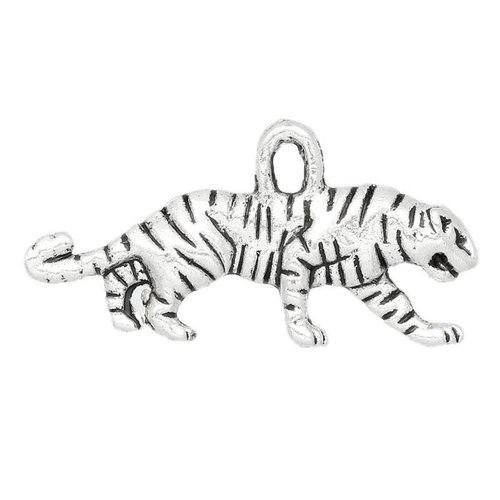 5 pieces Tiger Charm 3D Silver 22x11mm