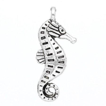 5 stuks Zeepaardje Bedel 3D Zilver 22x9mm