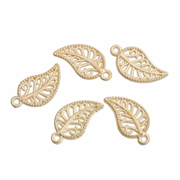 Leaf Charm Gold Plated 14x8mm, 6 pieces