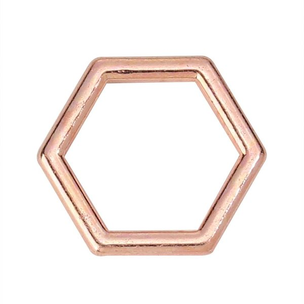 Honeycomb Bedel Rose Goud 12x10mm, 10 stuks