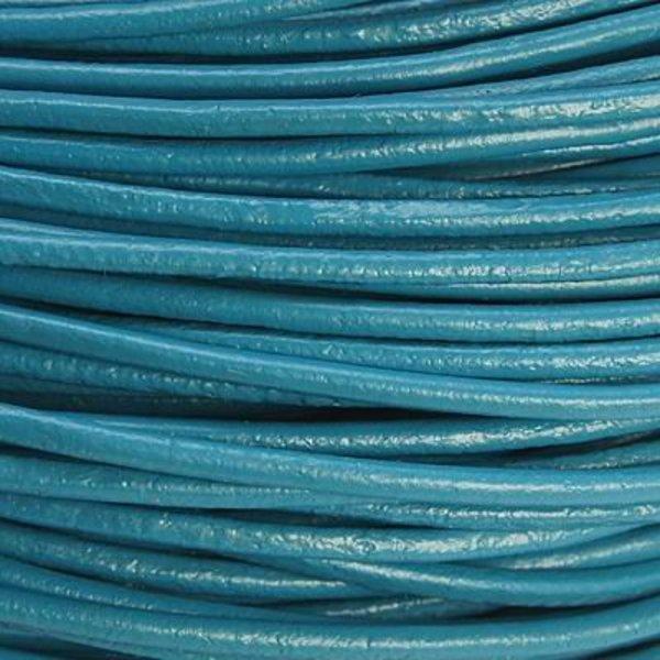 DQ Leer 2mm Petrol Blauw, 3 meter