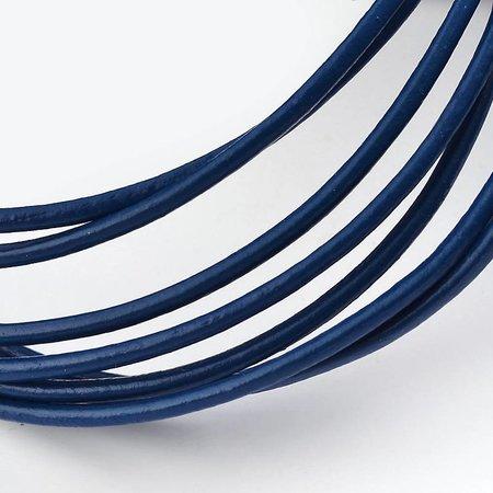 3 meter DQ Leer 2mm Donker Blauw