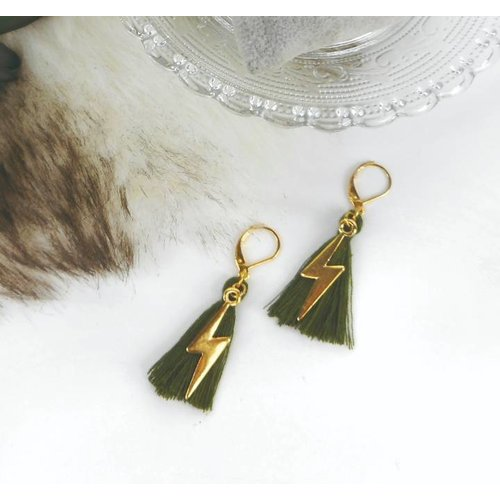 Lightning Earrings with Tassels