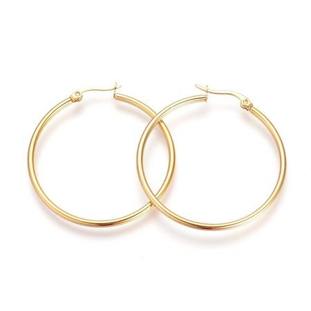 2 pieces Stainless Steel Earrings Gold 20mm