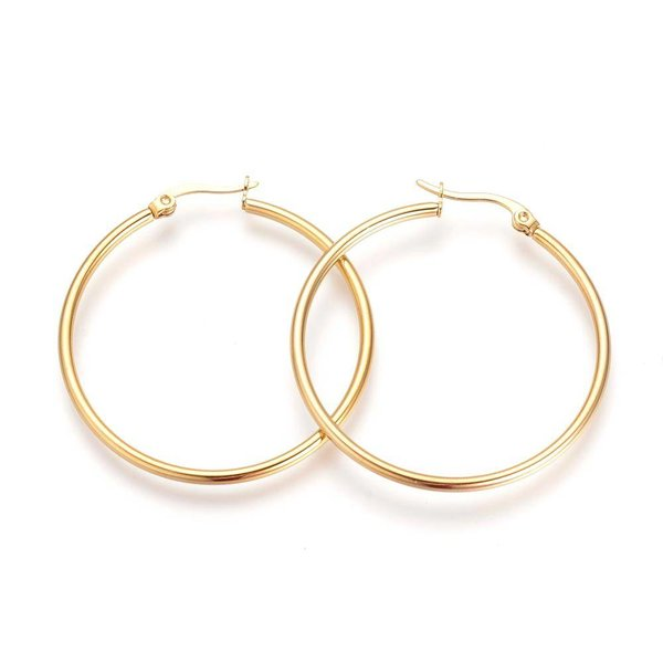 Stainless Steel Hoop Earrings Gold 20mm, 2 pieces