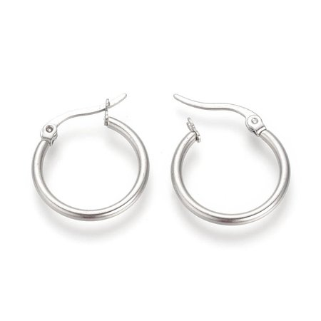 2 stuks Stainless Steel Earrings Silver 20mm